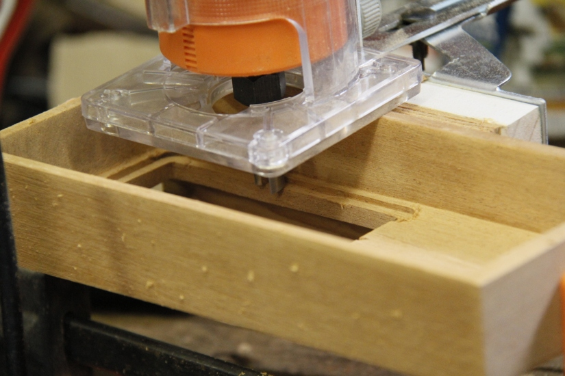 Routing out the inset for the glass...