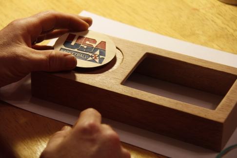 Setting the logo inlay...