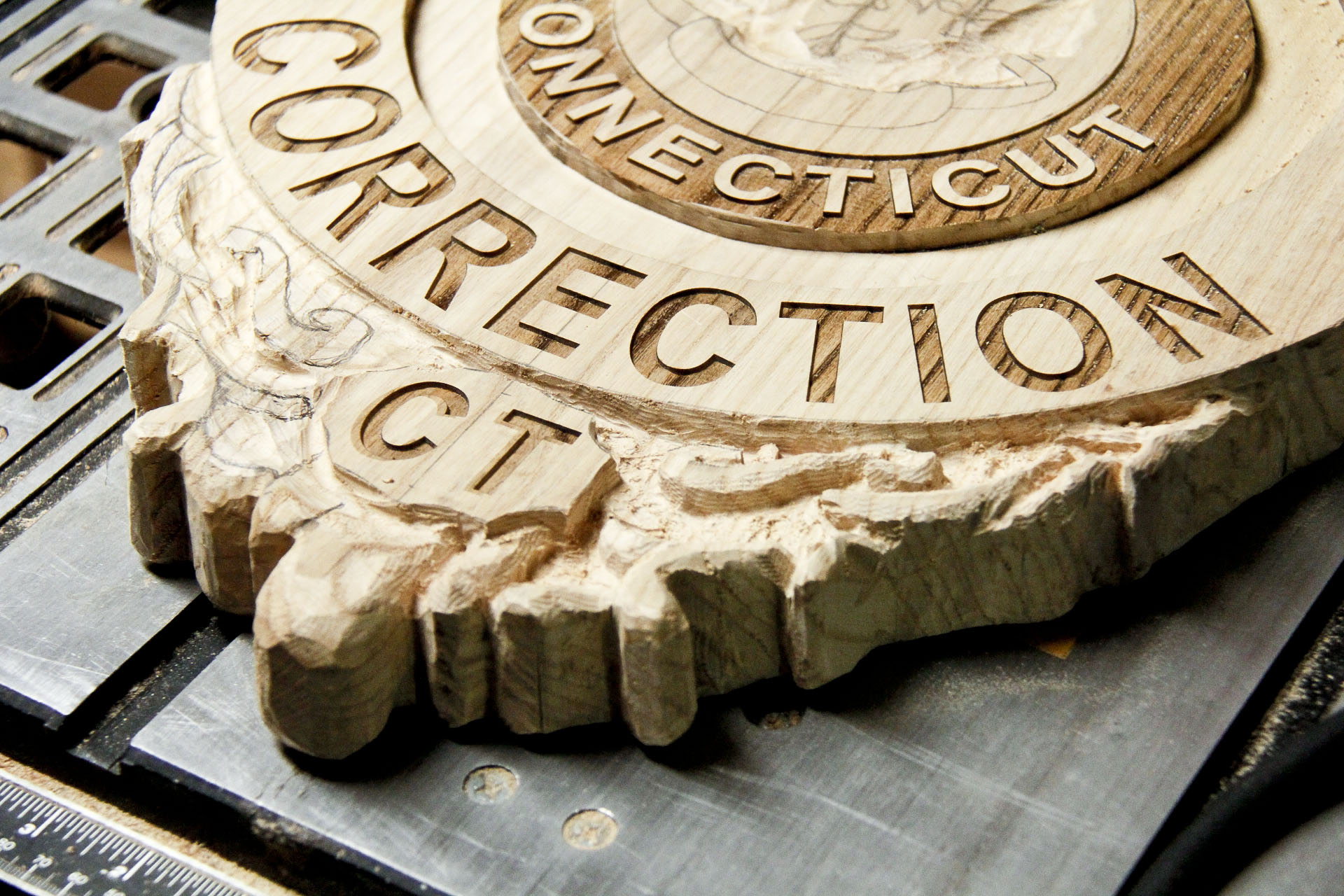 Carved police badge part custom wood carvings more