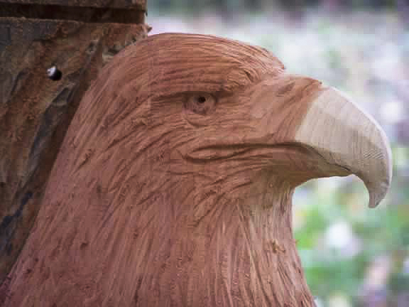 Cedar eagle carving in relief custom sculpture sign