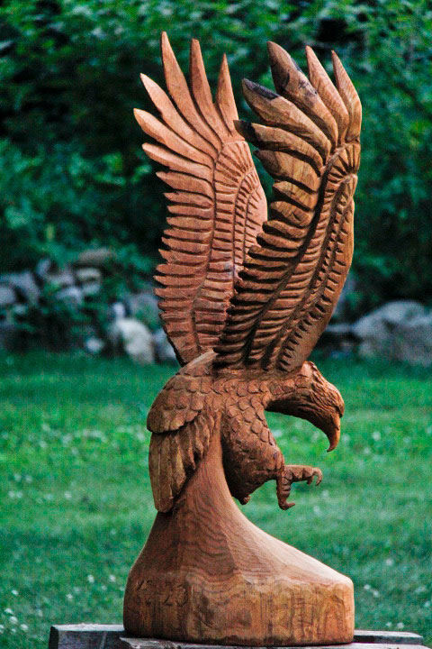 Ft eagle carving in v formation custom sculpture