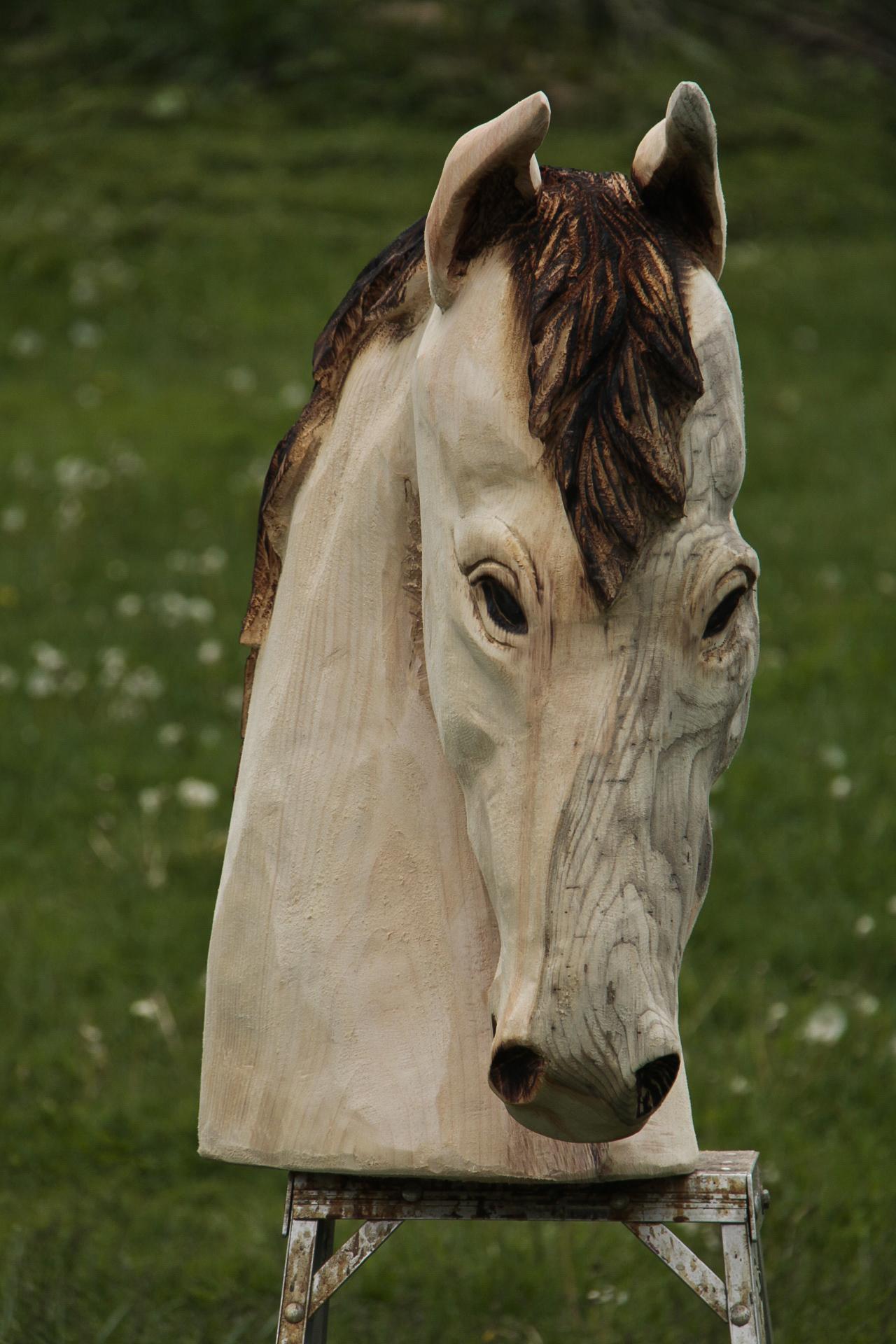 Horse head carving custom sculpture sign company