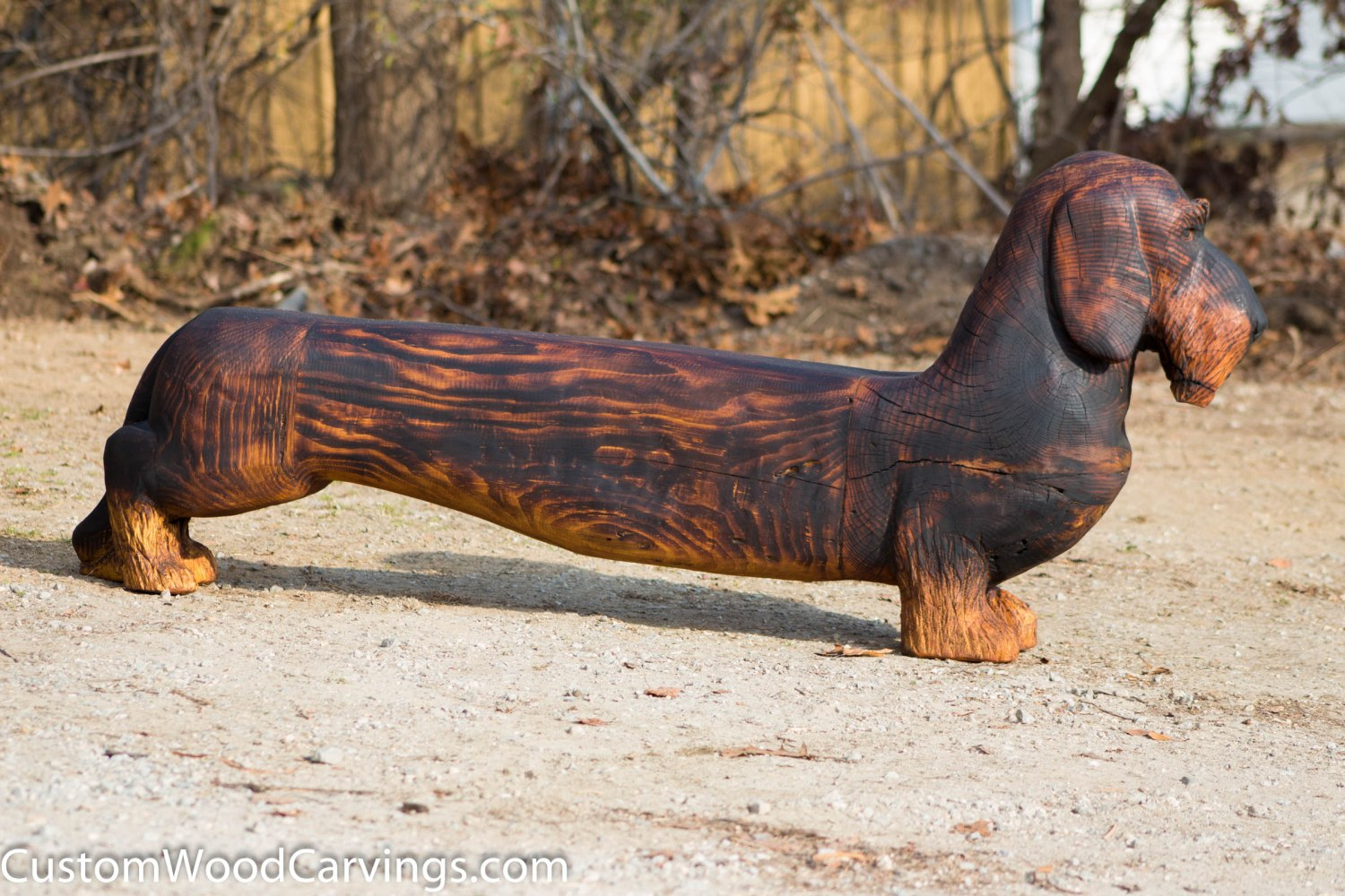 Dachshund dog bench carving custom sculpture sign company