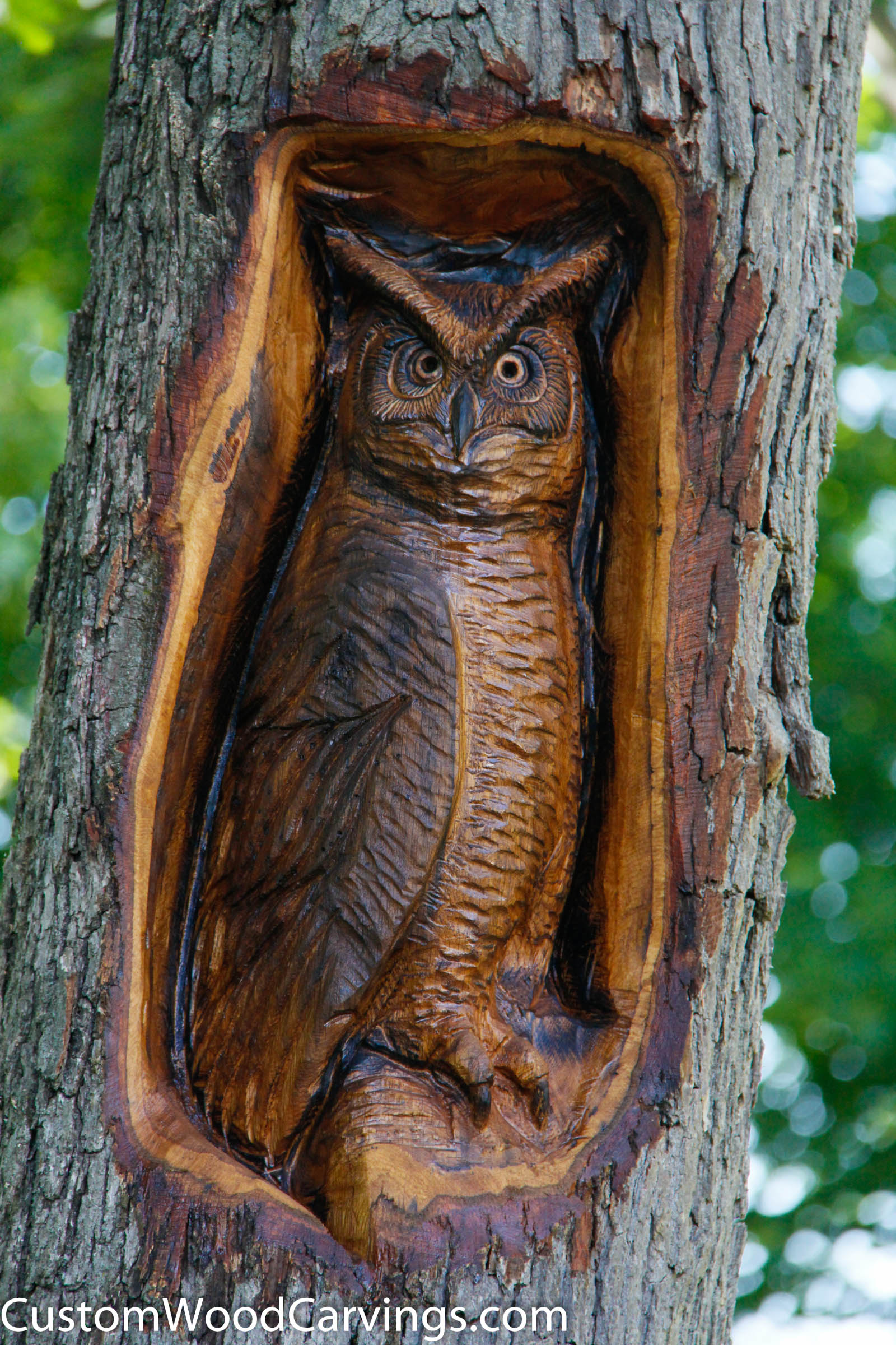 Owl wood sculpture hand carved wood wood carving by josh carte