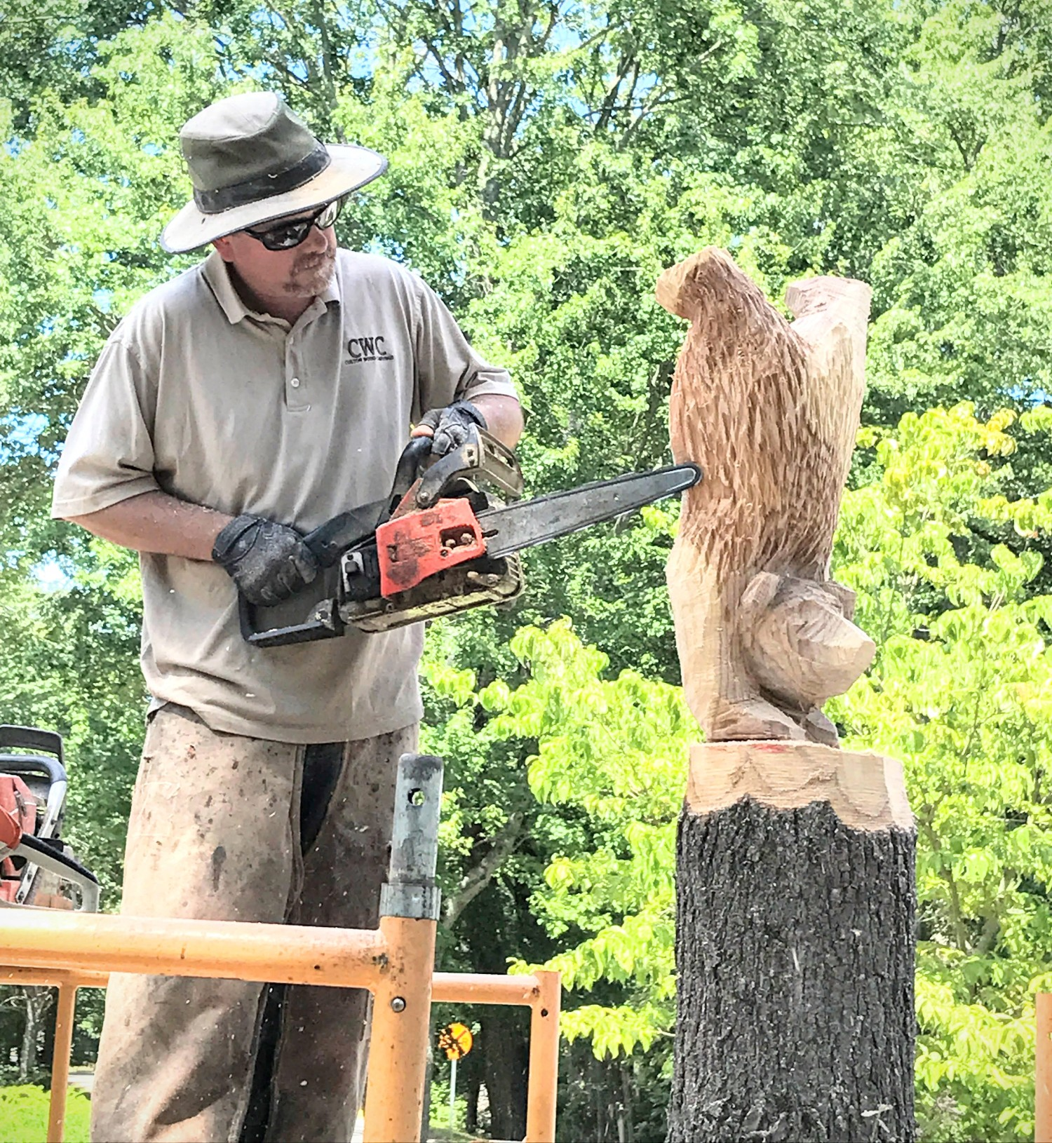 Stacked bear cubs chainsaw carving custom sculpture